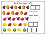 Pattern mats: Fruit, shapes, sounds, & unifix cubes