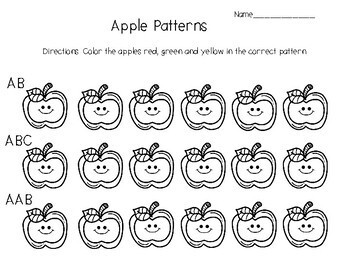 Pattern with apples and worms