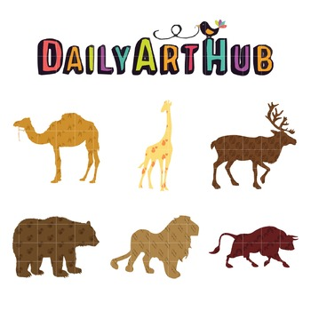 Patterned Animals Clip Art - Great for Art Class Projects!