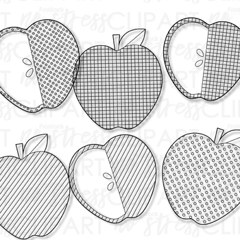 Patterned Apple Clip Art (Digital Use Ok!)