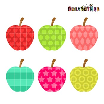 Patterned Apples Clip Art - Great for Art Class Projects!