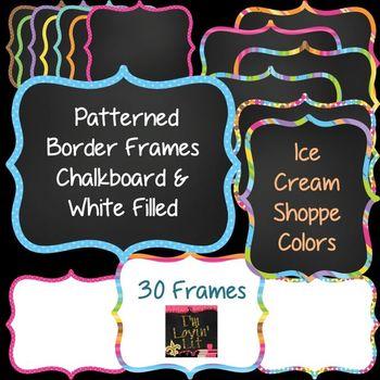 Patterned Border Chalkboard Frames & White Filled Frames {Ice Cream Shoppe}