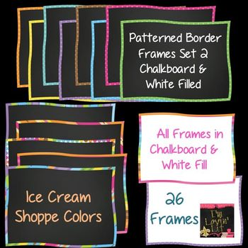 Patterned Border Chalkboard Frames & White Filled Frames SET 2 Ice Cream Shoppe