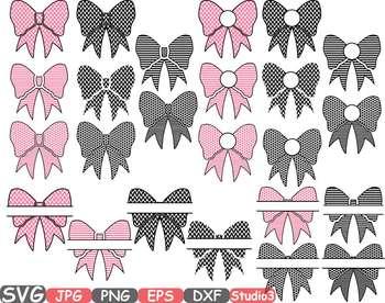 Patterned Bows Frames clipart split Polka Dots bow knot Ribbon zebra stripe 682s