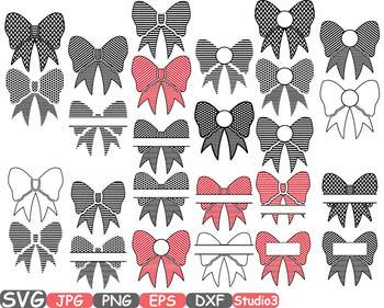 Patterned Bows Frames clipart split Polka Dots bow knot Ribbon zebra stripe 683s