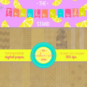 patterned burlap digital paper