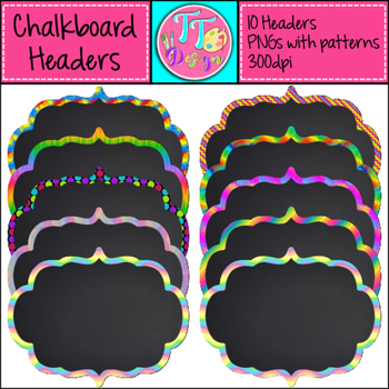 Patterned Chalkboard Headers/Frames/Labels Clip Art CU OK
