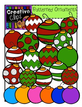 Patterned Christmas Clipart Ornaments {Creative Clips Clipart}