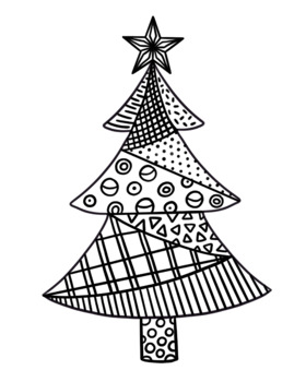 Patterned Christmas Tree coloring page