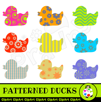 Patterned Duck Silhouette Clip Art