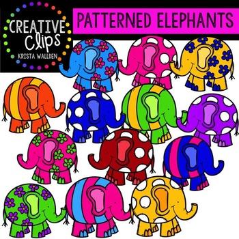 Patterned Elephants {Creative Clips Digital Clipart}