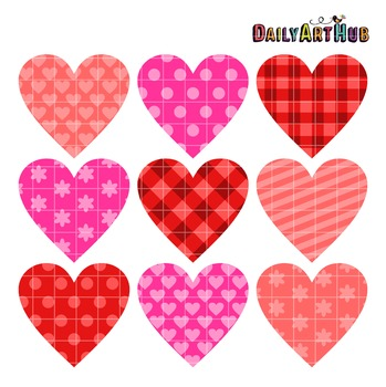 Patterned Hearts Clip Art - Great for Art Class Projects!