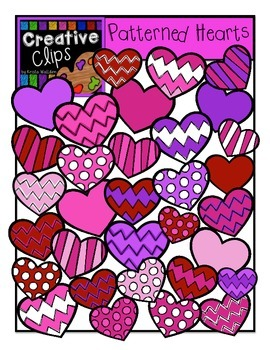 Patterned Hearts {Creative Clips Digital Clipart}