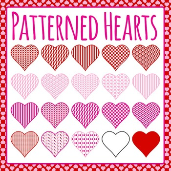 Patterned Hearts (Valentines Day) Clip Art Pack for Commercial Use