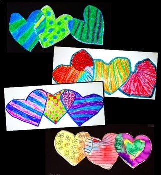 Art Lesson Valentine's Day  Patterns and Hearts Math Integrated