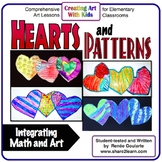 Art Lesson Valentine's Day Hearts and Patterns Math Integrated