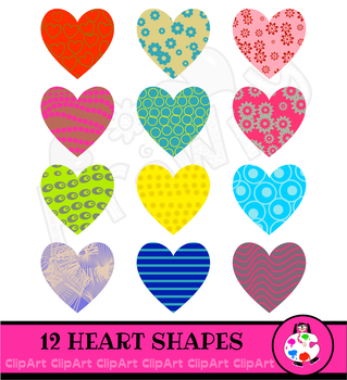 Patterned Love Heart Icon Clip Art