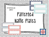 Patterned Name Plates/Labels {Coral|Navy|Turq} {Chevron|Qu