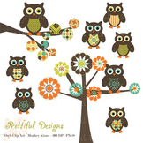 Patterned Owl Clip Art Commercial Use