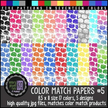 Patterned Papers: KG Color Match Papers Set Five
