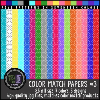 Patterned Papers: KG Color Match Papers Set Three