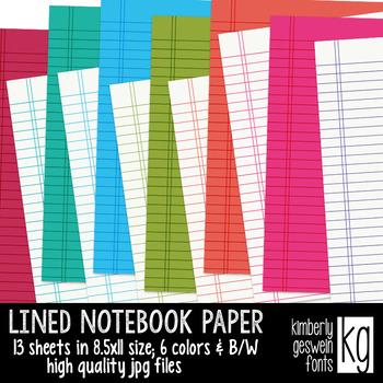 Patterned Papers: KG Lined Notebook Paper Pack