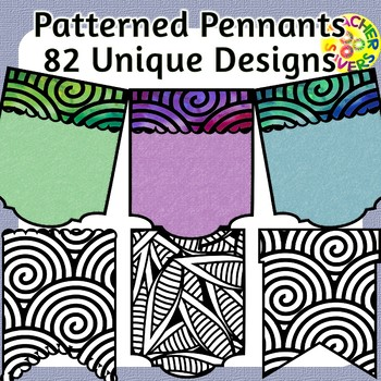 Patterned Pennants Coloring Clip Art Set Commercial and Personal Use
