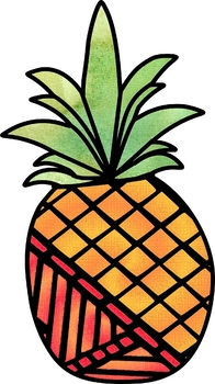 Patterned Pineapples Coloring Clip Art Set Commercial and Personal Use