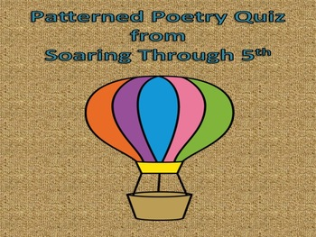 Patterned Poetry Quiz (Editable)