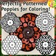 Patterned Poppies Coloring Clip Art Set Commercial and Personal Use
