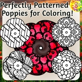 Patterned Poppies Coloring Clip Art Set Commercial and Per