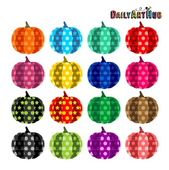 Patterned Pumpkins Clip Art - Great for Art Class Projects!