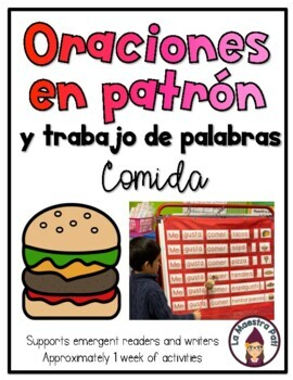 Patterned Sentences and Word Work in Spanish- Me gusta comer____. (Food)