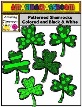 Patterned Shamrocks Clip Art Set