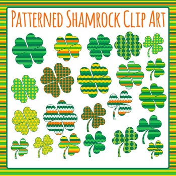 Patterned Shamrocks - St Patrick's Day Sorting Clip Art Set for Commercial Use