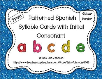 Patterned Spanish Syllable Cards with Glitter Borders FREEBIE
