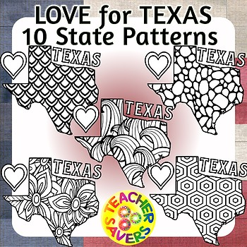 Patterned State of Texas Clip Art Set