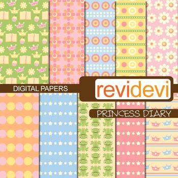 Patterned background - Princess Diary (flowers, tiaras)