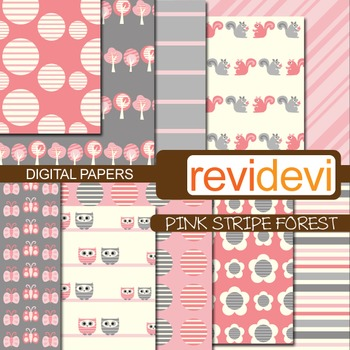 Patterned background - pink stripe forest (teacher resource)