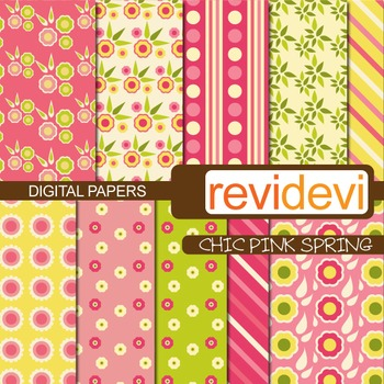 Patterned papers - Chic pink spring (flowers, pink, yellow)