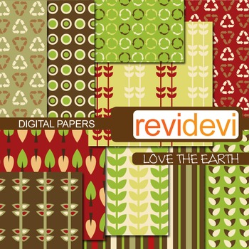 Patterned papers for background - Love the earth (recycle, go green)
