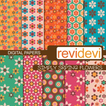Patterned papers for background - Simply spring flowers