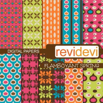 Patterned papers for background - flamboyant spring (retro design)