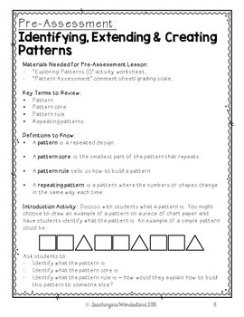 {Grade 2} Patterning Activity Packet