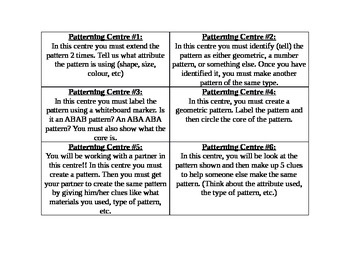 Patterning Centre Cards for Grade 1