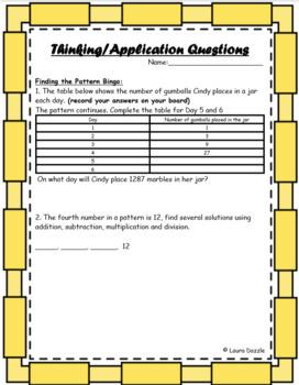 Patterning Math Bingo