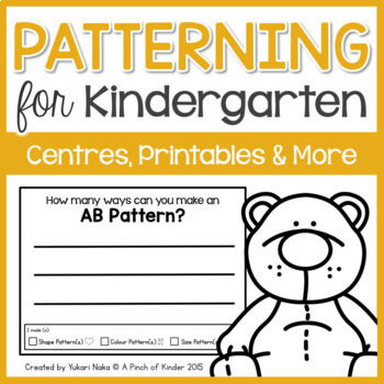 Patterning for Kindergarten: Centres, Printables & More