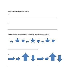 Patterning Quiz - Grade 2
