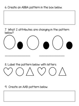 Patterning Quiz (Ontario Curriculum)