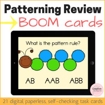 Patterning Review Digital Task Cards with BOOM Cards for Kindergarten